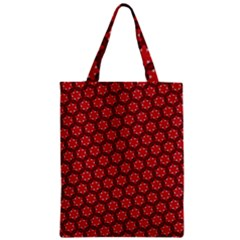 Red Passion Floral Pattern Zipper Classic Tote Bag by DanaeStudio