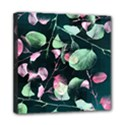 Modern Green And Pink Leaves Mini Canvas 8  x 8  View1