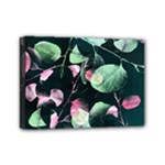 Modern Green And Pink Leaves Mini Canvas 7  x 5