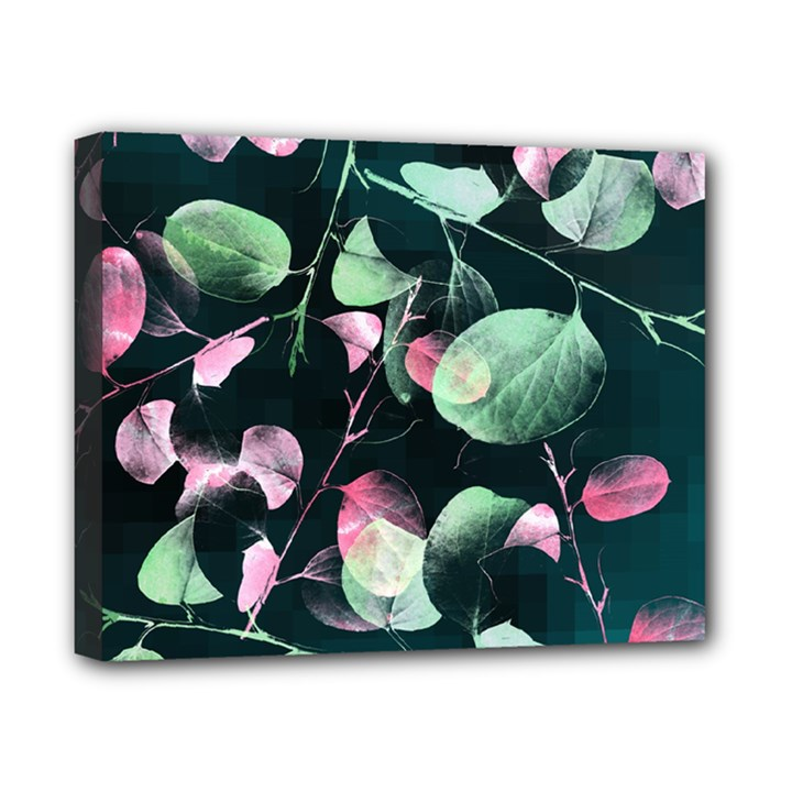 Modern Green And Pink Leaves Canvas 10  x 8