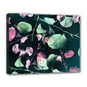 Modern Green And Pink Leaves Canvas 14  x 11  View1