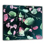 Modern Green And Pink Leaves Canvas 24  x 20