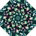 Modern Green And Pink Leaves Folding Umbrellas View1