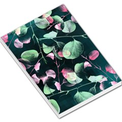 Modern Green And Pink Leaves Large Memo Pads
