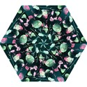 Modern Green And Pink Leaves Mini Folding Umbrellas View1