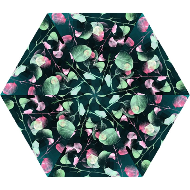 Modern Green And Pink Leaves Mini Folding Umbrellas