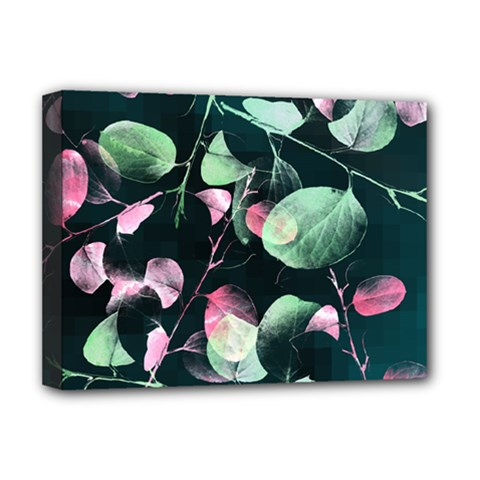 Modern Green And Pink Leaves Deluxe Canvas 16  X 12   by DanaeStudio