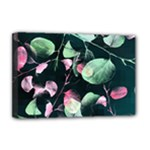 Modern Green And Pink Leaves Deluxe Canvas 18  x 12