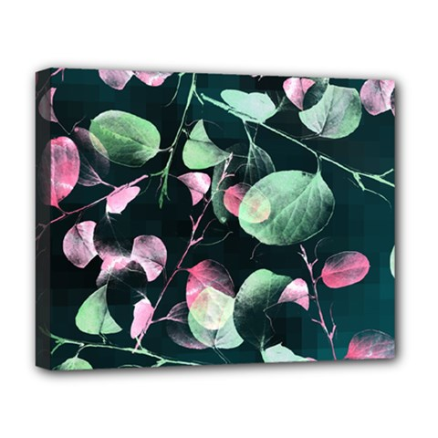 Modern Green And Pink Leaves Deluxe Canvas 20  X 16   by DanaeStudio