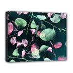 Modern Green And Pink Leaves Deluxe Canvas 20  x 16
