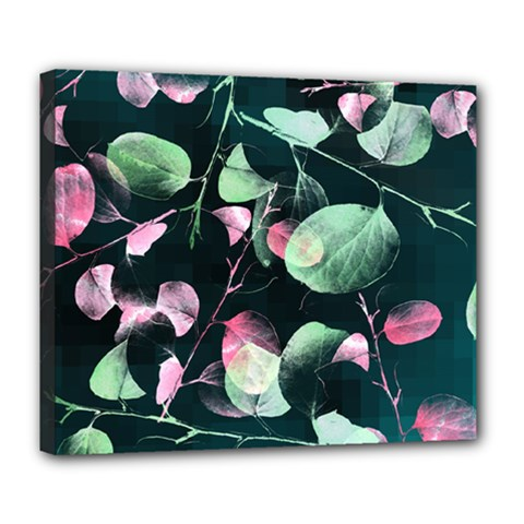 Modern Green And Pink Leaves Deluxe Canvas 24  X 20