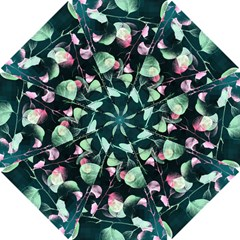 Modern Green And Pink Leaves Golf Umbrellas