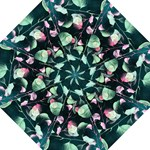 Modern Green And Pink Leaves Hook Handle Umbrellas (Medium)