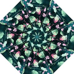 Modern Green And Pink Leaves Hook Handle Umbrellas (large) by DanaeStudio