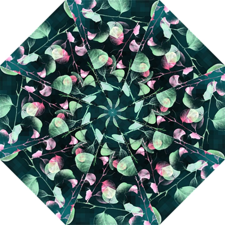 Modern Green And Pink Leaves Hook Handle Umbrellas (Large)
