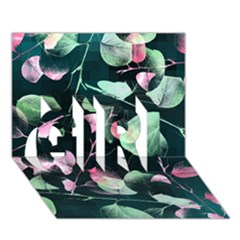 Modern Green And Pink Leaves GIRL 3D Greeting Card (7x5)