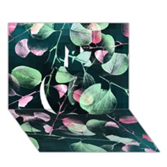 Modern Green And Pink Leaves Apple 3d Greeting Card (7x5) by DanaeStudio