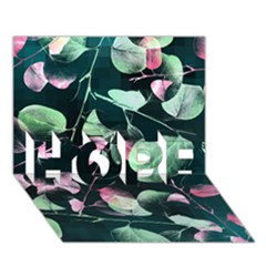 Modern Green And Pink Leaves Hope 3d Greeting Card (7x5)