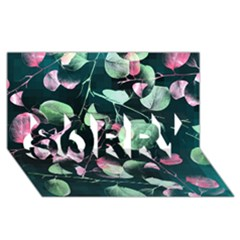 Modern Green And Pink Leaves Sorry 3d Greeting Card (8x4)