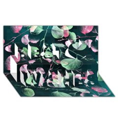 Modern Green And Pink Leaves Best Wish 3d Greeting Card (8x4)