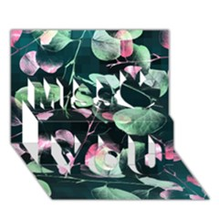 Modern Green And Pink Leaves Miss You 3d Greeting Card (7x5) by DanaeStudio