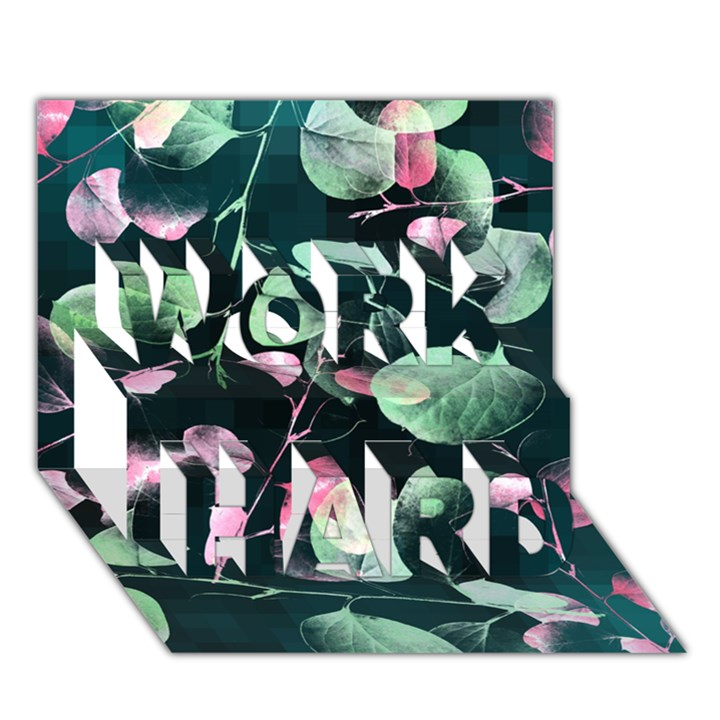 Modern Green And Pink Leaves WORK HARD 3D Greeting Card (7x5)