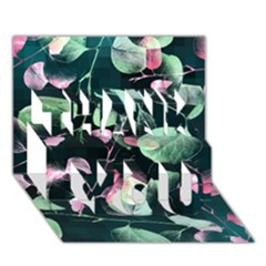 Modern Green And Pink Leaves Thank You 3d Greeting Card (7x5) by DanaeStudio