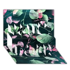 Modern Green And Pink Leaves You Rock 3d Greeting Card (7x5) by DanaeStudio