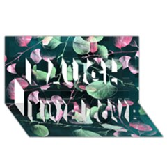 Modern Green And Pink Leaves Laugh Live Love 3d Greeting Card (8x4)