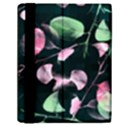 Modern Green And Pink Leaves Samsung Galaxy Tab 10.1  P7500 Flip Case View2