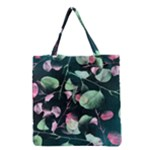 Modern Green And Pink Leaves Grocery Tote Bag