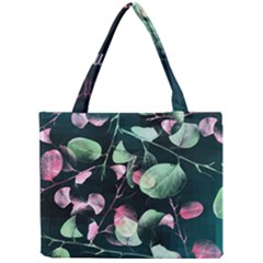 Modern Green And Pink Leaves Mini Tote Bag by DanaeStudio