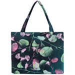 Modern Green And Pink Leaves Mini Tote Bag