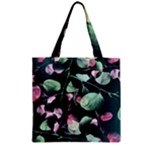 Modern Green And Pink Leaves Zipper Grocery Tote Bag