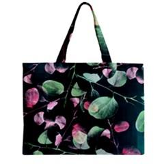 Modern Green And Pink Leaves Zipper Mini Tote Bag