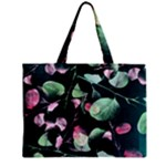 Modern Green And Pink Leaves Zipper Mini Tote Bag