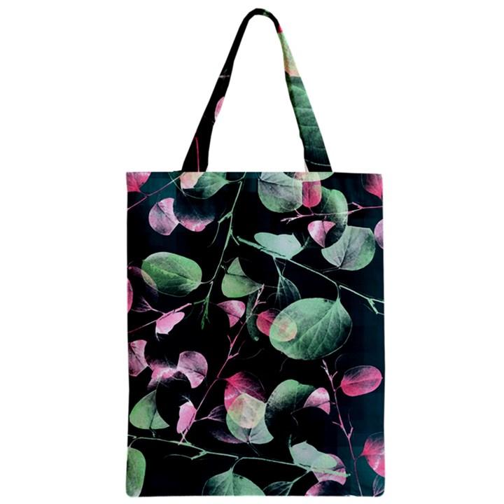 Modern Green And Pink Leaves Zipper Classic Tote Bag