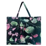 Modern Green And Pink Leaves Zipper Large Tote Bag