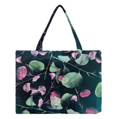 Modern Green And Pink Leaves Medium Tote Bag