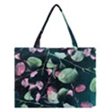Modern Green And Pink Leaves Medium Tote Bag View1