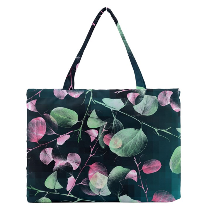 Modern Green And Pink Leaves Medium Zipper Tote Bag