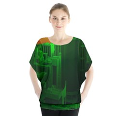 Green Building City Night Blouse by Zeze