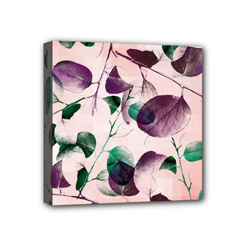 Spiral Eucalyptus Leaves Mini Canvas 4  X 4  by DanaeStudio
