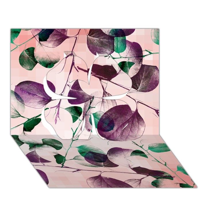 Spiral Eucalyptus Leaves Clover 3D Greeting Card (7x5)