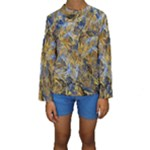 Antique Anciently Gold Blue Vintage Design Kids  Long Sleeve Swimwear