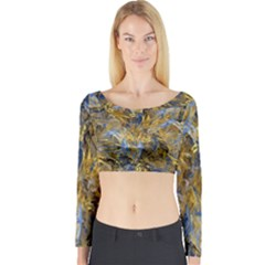 Antique Anciently Gold Blue Vintage Design Long Sleeve Crop Top by designworld65