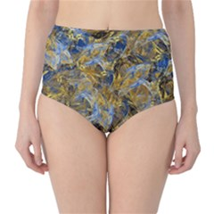 Antique Anciently Gold Blue Vintage Design High Waist Bikini Bottoms by designworld65