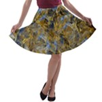Antique Anciently Gold Blue Vintage Design A-line Skater Skirt
