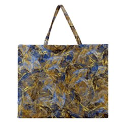 Antique Anciently Gold Blue Vintage Design Zipper Large Tote Bag by designworld65