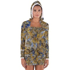 Antique Anciently Gold Blue Vintage Design Women s Long Sleeve Hooded T Shirt by designworld65